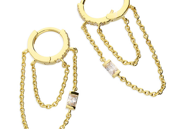Gold Plated Silver Baguette Cubic Zirconia 10mm Double Hoop Chained Earrings