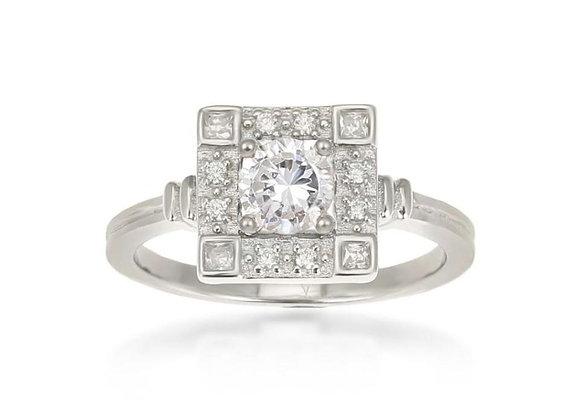 Odette Sterling Silver Square Ring