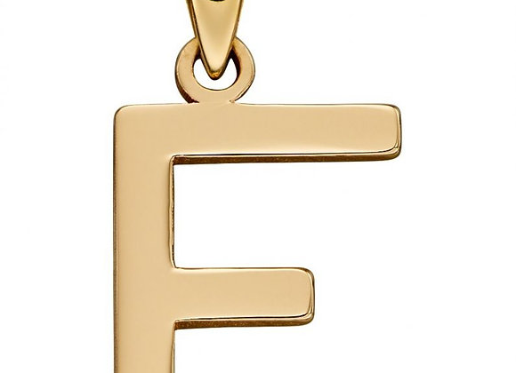 9ct Yellow Gold Letter 'F' Initial Pendant