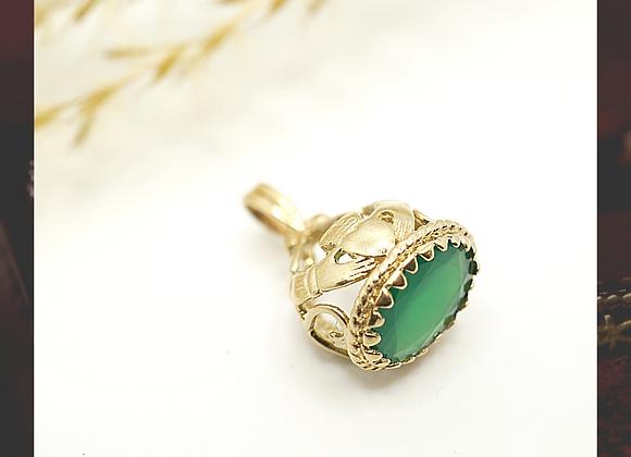 9ct Green stone Fob/Pendant