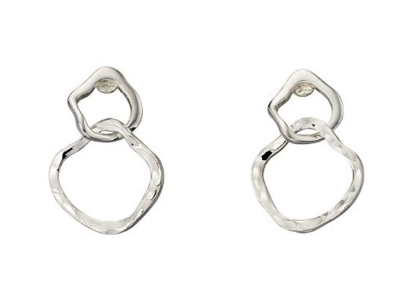 Silver Organic Circles Earrings