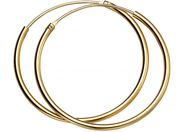 Silver Yellow Gold Plated 30mm Hoop Earrings