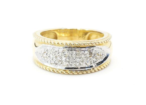 9ct Diamond Rope Edge Ring