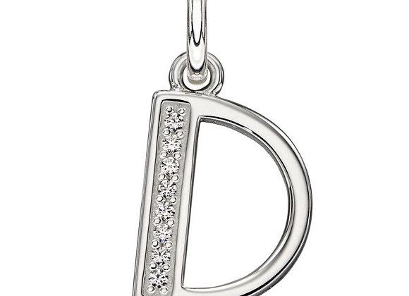 Letter 'D' Cubic Zirconia Initial Pendant