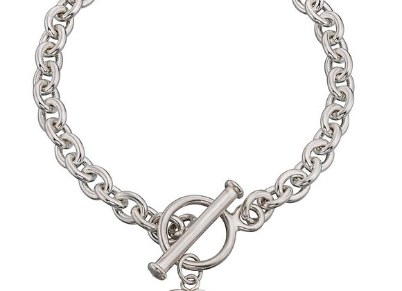 Silver Heart Tag T Bar Bracelet