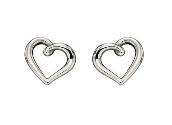 9ct White Gold Elegant Heart Earrings