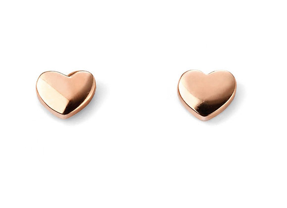 9ct Rose Gold Heart Button Earrings
