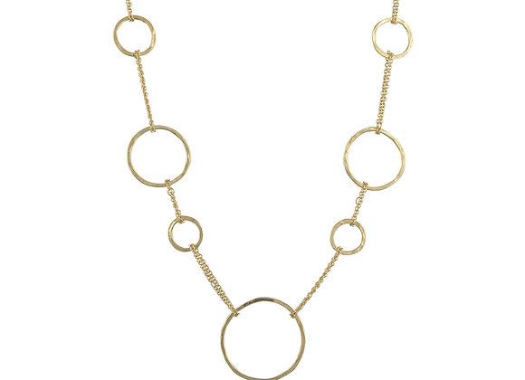 9ct Yellow Gold Organic Circle Necklace