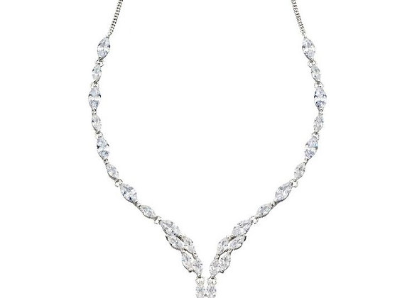 Silver Marquise Cubic Zirconia Necklace