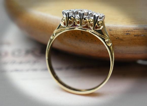 Single Cut Diamond Three Stone Diamond Ring