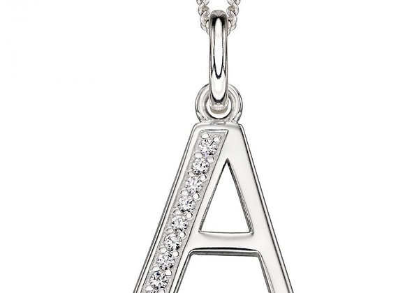 Letter 'A' Cubic Zirconia Initial Pendant