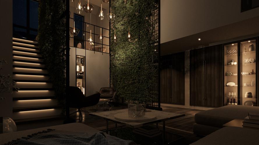 Living Green : Livingroom Nightshot -1
