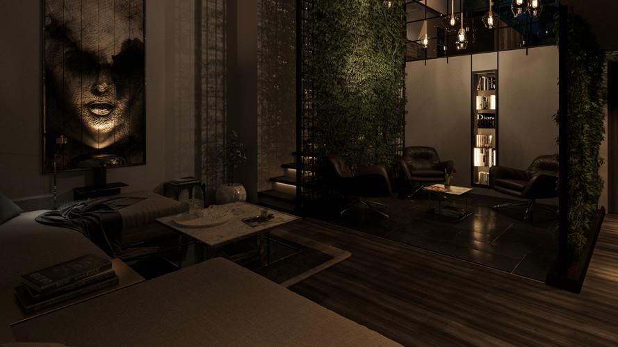 Living Green : Livingroom Nightshot