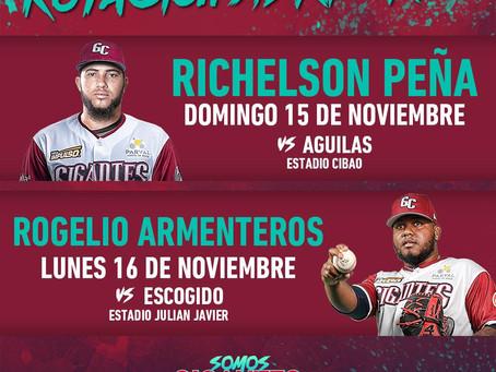 Peña y Armenteros abrirán primeros partidos de Gigantes