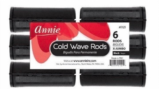 "Annie Cold Wave Rods X Jumbo 1 1/4"" Black 6 Count #1121"