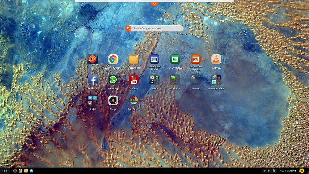 This is a picture of the Endless OS desktop with the Hack logo on the off mode