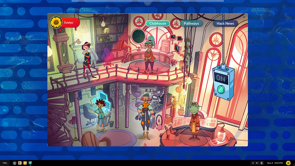This is a picture of the Hack clubhouse with the cast of characters