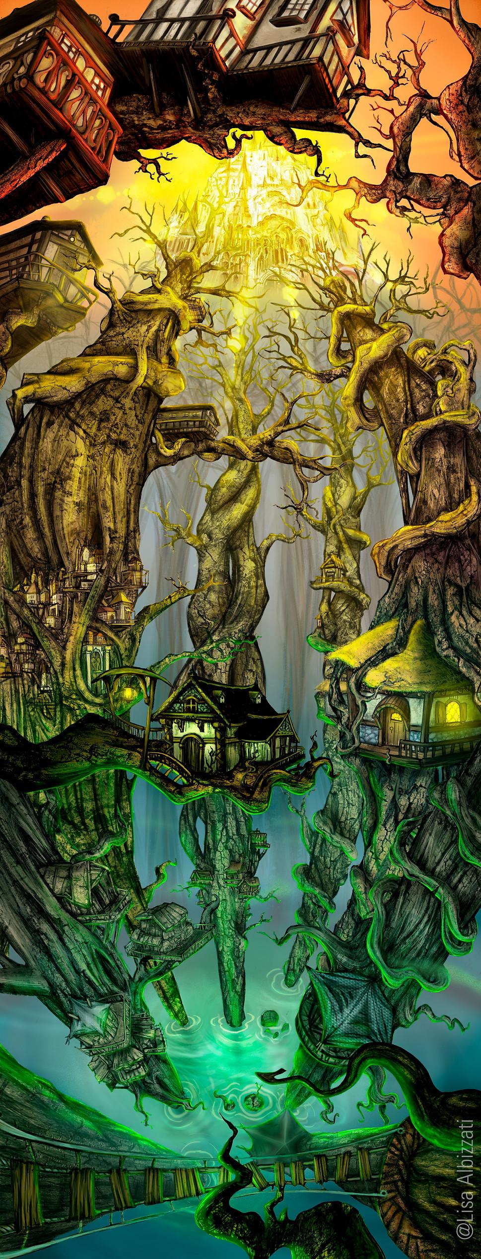 Lisa Albizzati, City on the trees, Fantasy Illustration