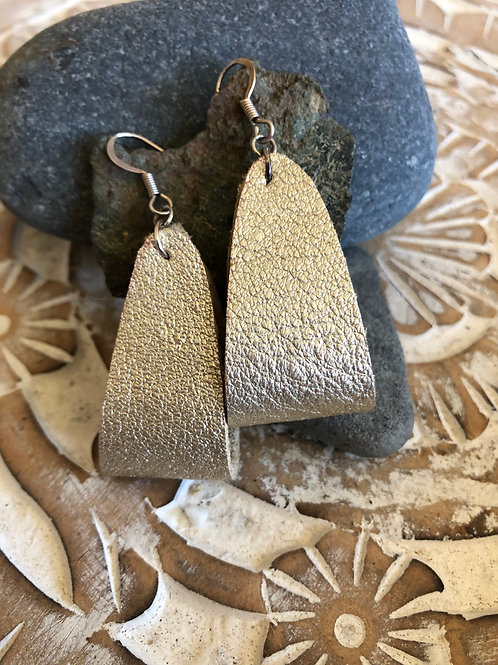 "Handcrafted ""Folded"" Leather Earrings"