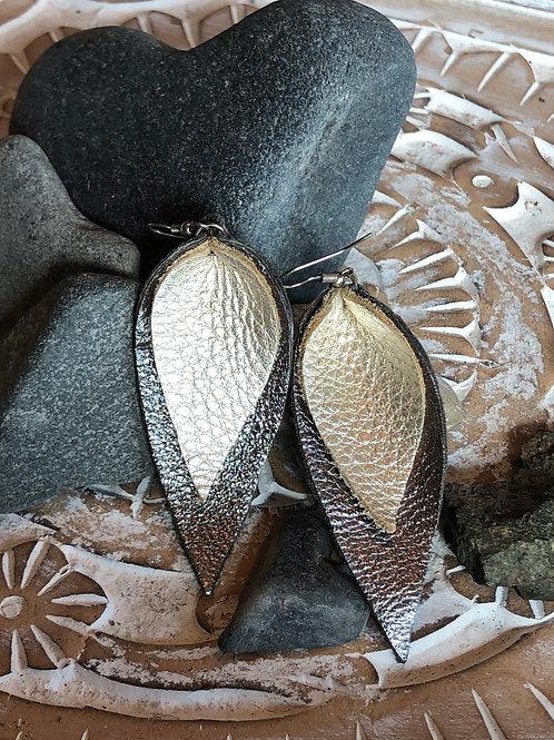 """Handcrafted """"Teardrop"""" leather earrings"""