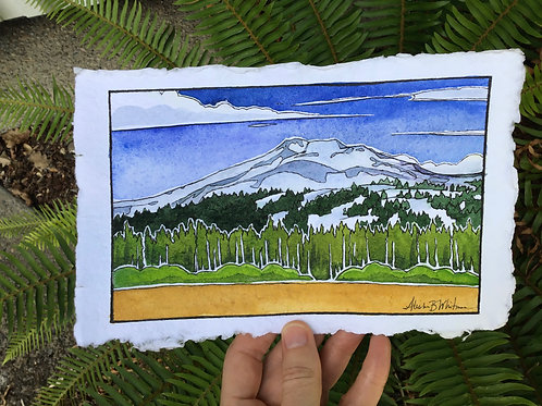 """""""Out With Mt Bachelor"""" - Watercolor Sketch"""