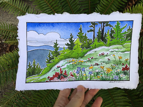 """""""Wildflowers and Root Beer Floats"""" - Watercolor Sketch"""