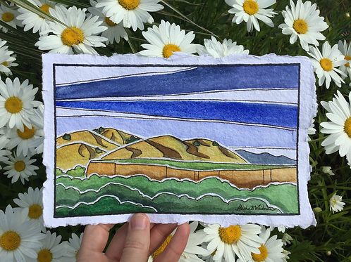 """Northern California Hills"" - Watercolor Sketch"
