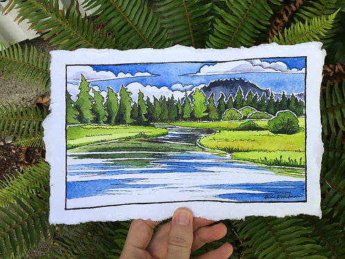 """""""Windy Afternoon on the Deschutes"""" - Watercolor Sketch"""