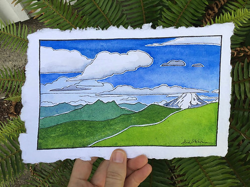 """""""Clouds With a View"""" - Watercolor Sketch"""