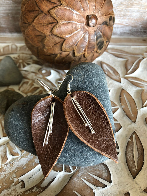 "Handcrafted ""Teardrop"" leather earrings"