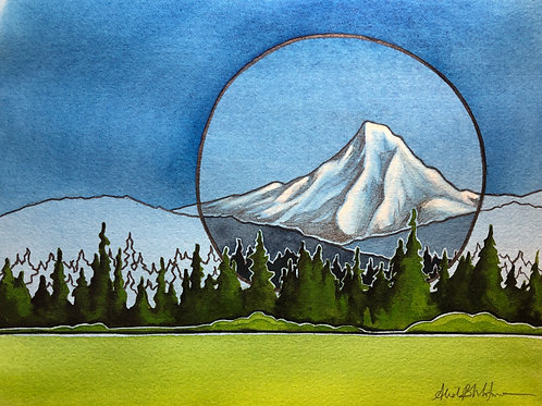 """""""Making a Mountain"""" - Watercolor and pencil on paper"""