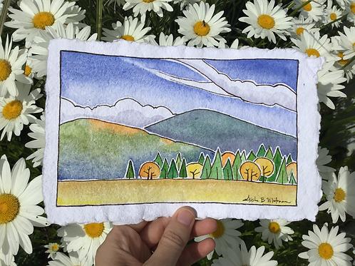 """Autumn-Colored Hills"" - Watercolor Sketch"