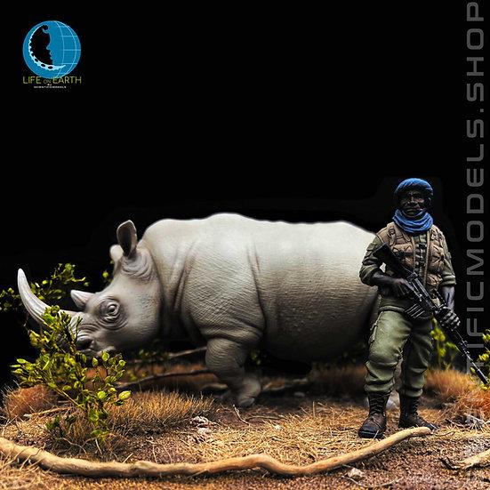 Ranger Africano e rinoceronte Bianco modellismo diorami animale 54mm