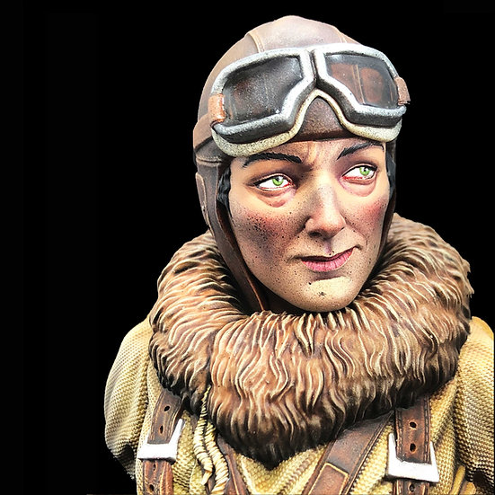 Busto in resina Lady Lindy aviatrice kit resina modellismo scala 1:10