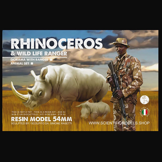 Rinoceronte bianco con cucciolo modellino modellismo diorami scala 54mm