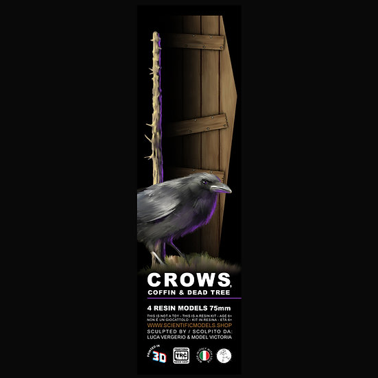 crows, dead tree and coffin for your resin model kit