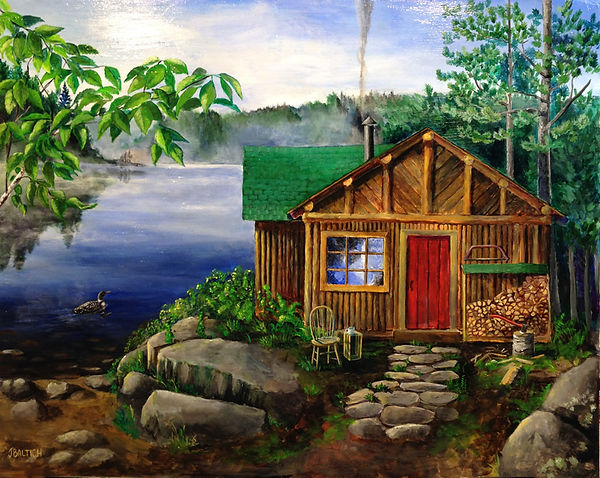An lod log cabin on a lake ner the Boundary Waters of northeastern Minnesota by Ely.