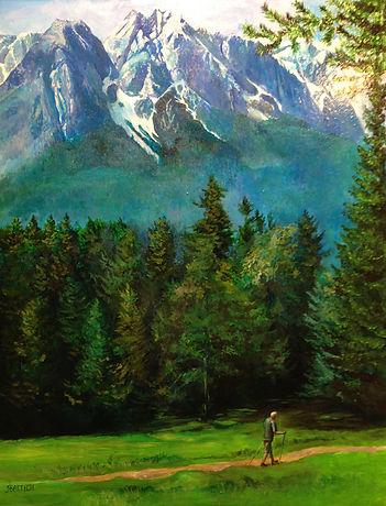 Dave Merhar walking in mountains in Barvaria