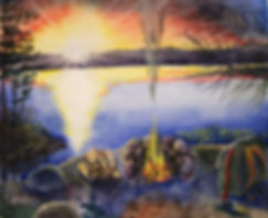 boundary waters sunset, sunset ona lake, sunset painting, packsack, campfire, firewood, campsite, pine needles, pine trees