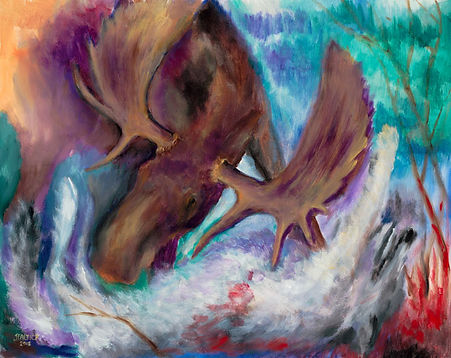 moose attck wolf, wolf attack, abstract art, boundary waters, ely mn, northwind lodge, joe baltich art,  angry moose