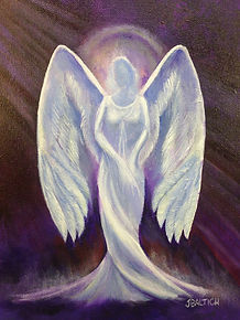 Porcelain Angel.  Painted on aluminum