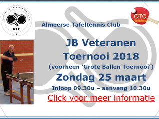 Aankondiging John Brouwers Veteranen Toernooi 2018