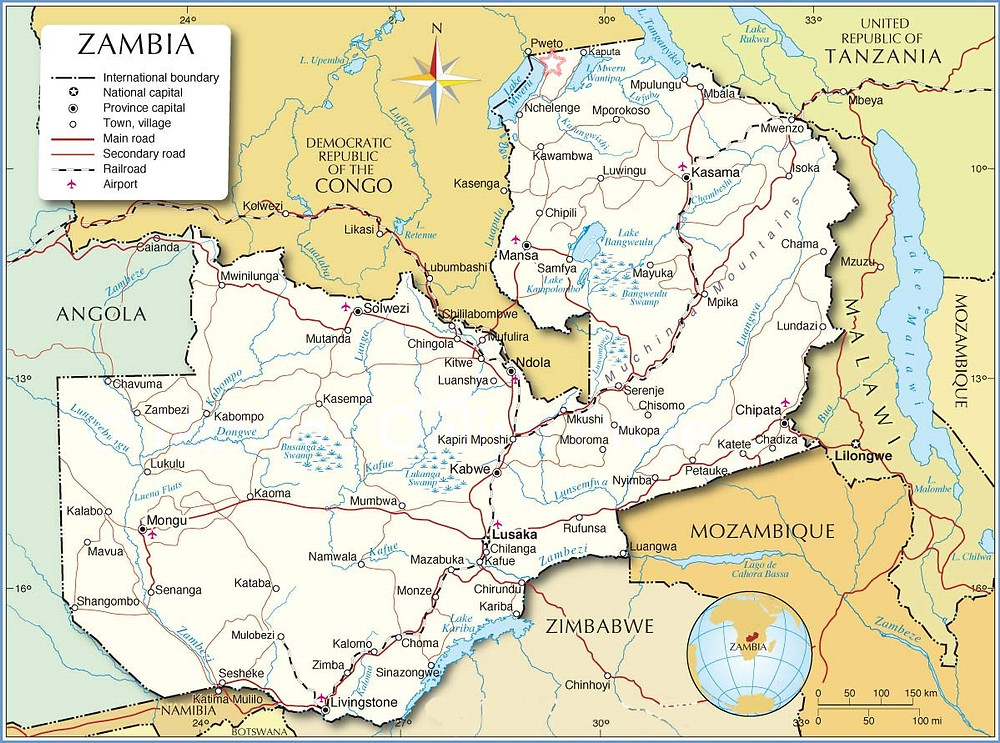 The red star at the far North border is where Chiengi is located near Lake Mweru