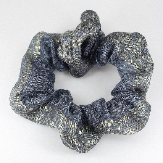 Chouchou en soie grise & dorée