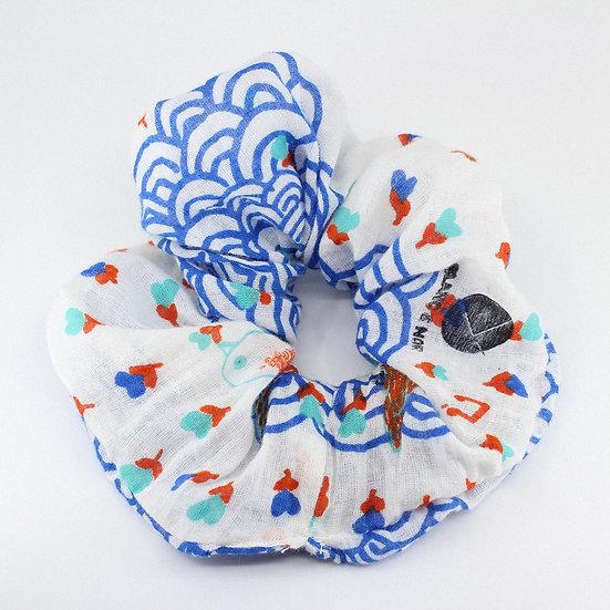 Maxi chouchou en coton à motifs bleus