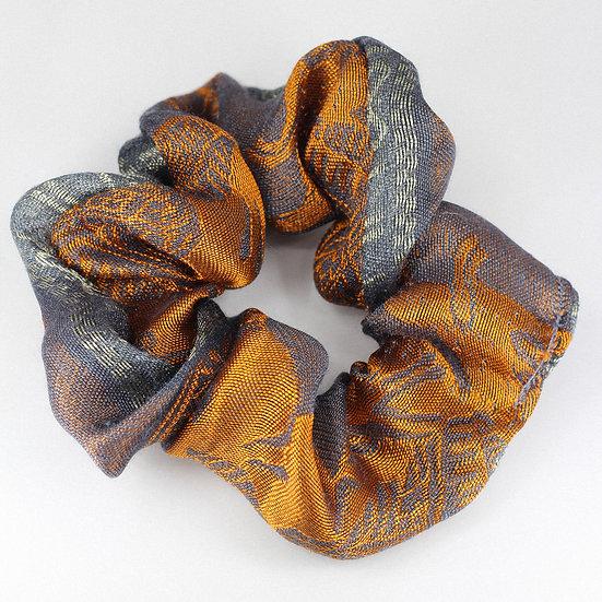 Chouchou en soie grise & orange