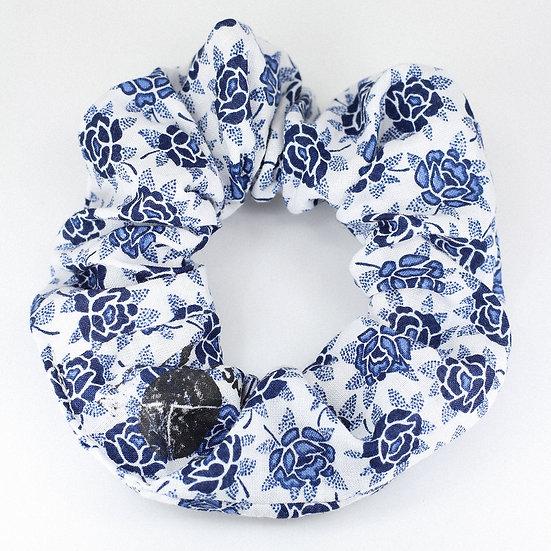 Chouchou en coton Fleurs bleues
