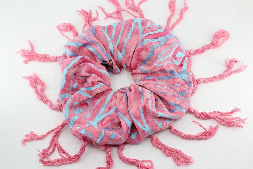 Maxi chouchou en viscose rose et bleu à franges