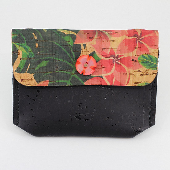 Mini porte-monnaie en liège Monstruosa et Hibiscus