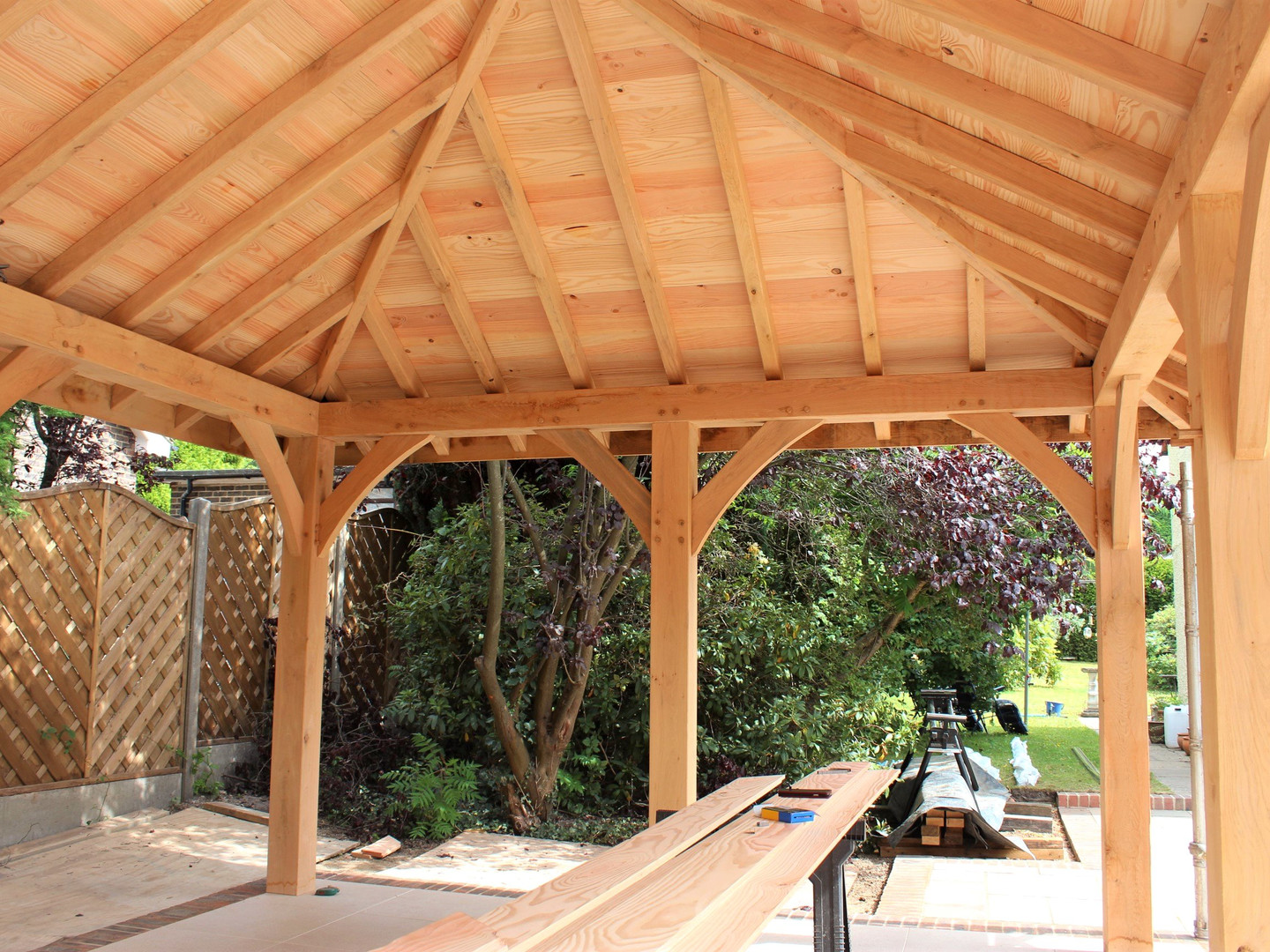 Example gazebo shown with Douglas Fir roof
